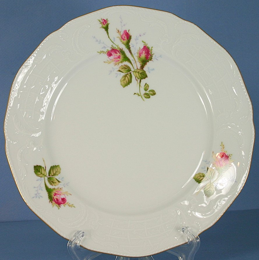 "Rosenthal Moss Rose (Sanssouci, White) 8"" Salad Plate"