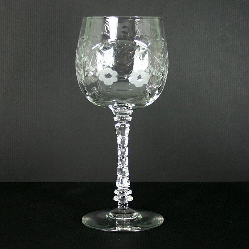 """Libbey - Rock Sharpe 1004-2 (Gray Cut) 7"""" Water Goblet"""