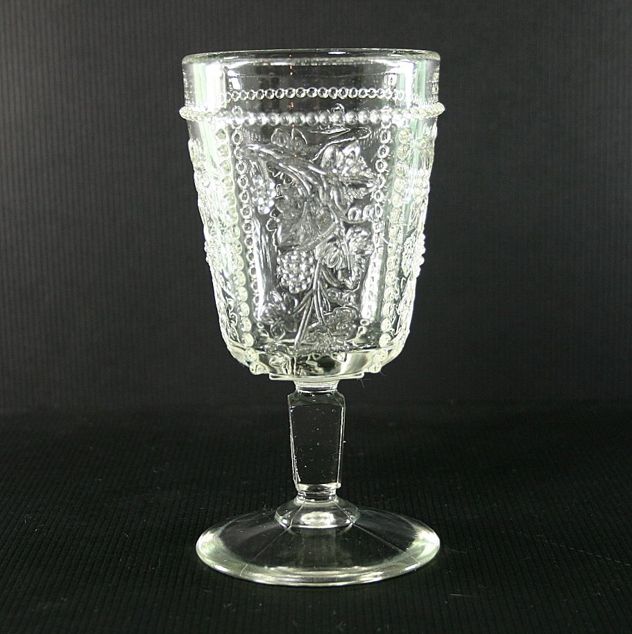 US Glass Co. Beaded Grape (California) Clear Water Goblet