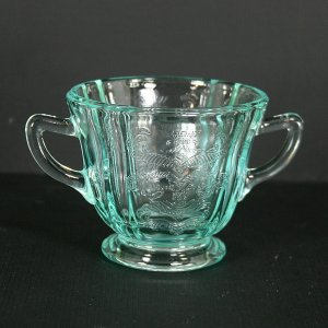 Indiana Glass Recollection Madrid - Green (Teal) Footed Open Sugar Bowl
