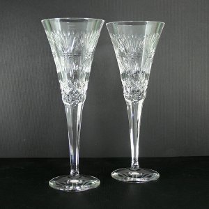 "Waterford Millennium Pair of Prosperity 9"" Fluted Champagne Glasses"
