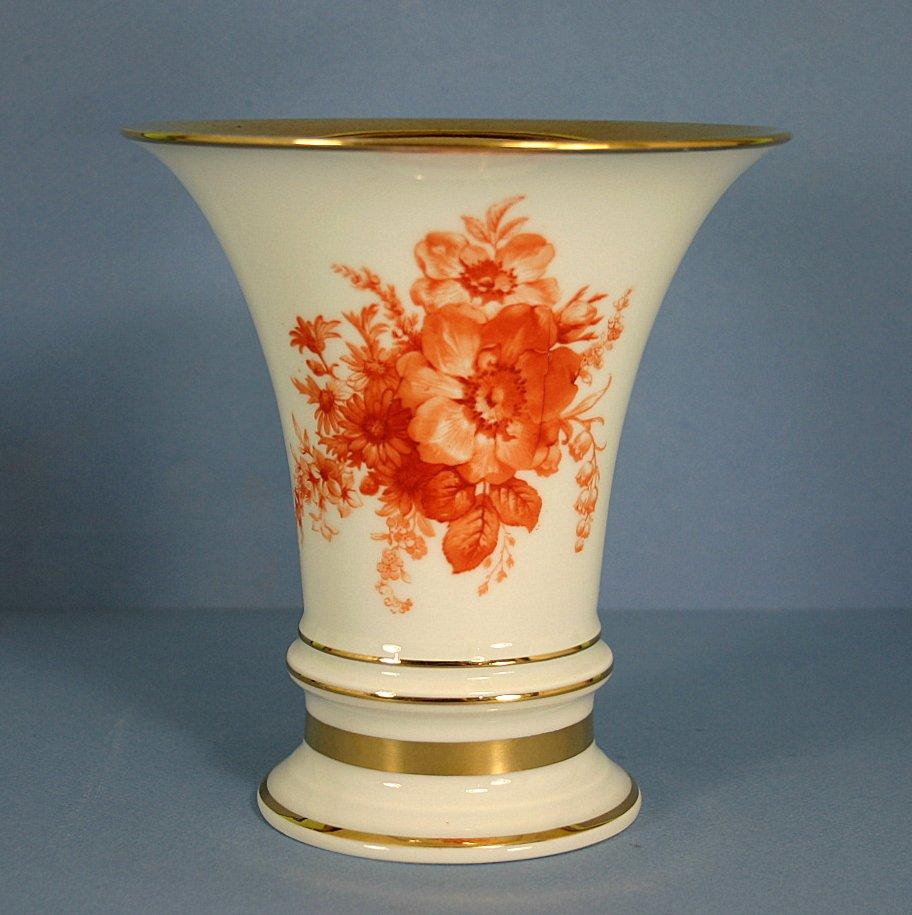 Furstenberg Decorative Vase Orange Floral Design