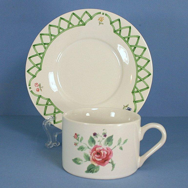 Pfaltzgraff Garden Trellis Flat Cup & Saucer Set