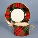 Fitz and Floyd Country Plaid Flat Cup & Saucer Set