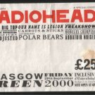 RADIOHEAD CONCERT TICKET INNER BARRIER PASS GLASGOW GREEN 2000 USED RARE