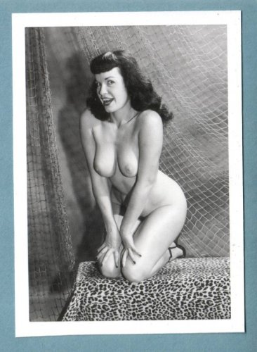 BETTY PAGE TOPLESS NUDE BREASTS HAIRY PUSSY NEW REPRINT 5X7  #158