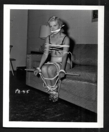 BLONDE FETISH BONDAGE MODEL VINTAGE ORIGINAL IRVING KLAW PHOTO 4X5 #PA-45