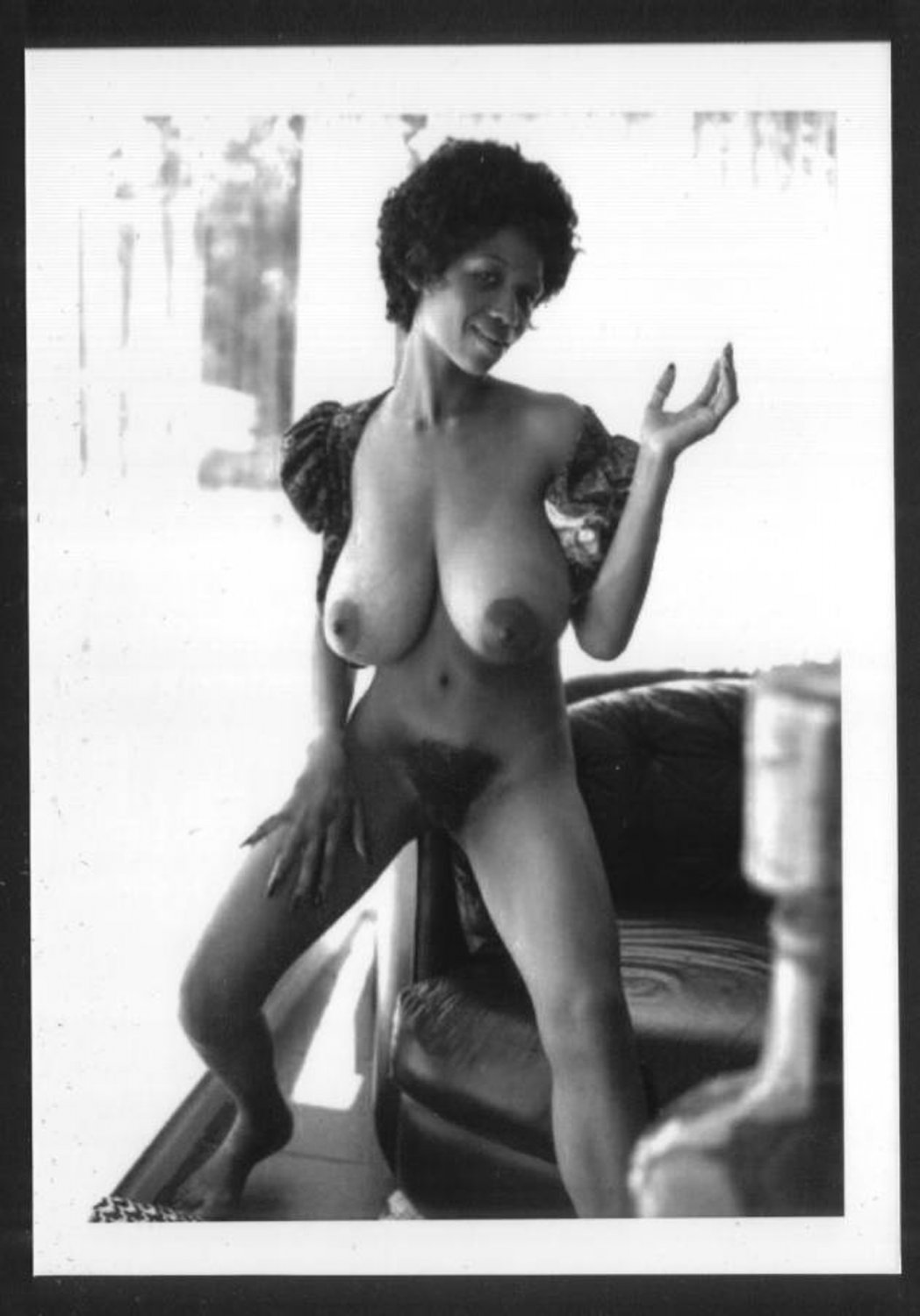 EBONY SYLVIA MCFARLAND TOPLESS NUDE HUGE BREASTS HAIRY PUSSY NEW REPRINT 5X7 SM-91