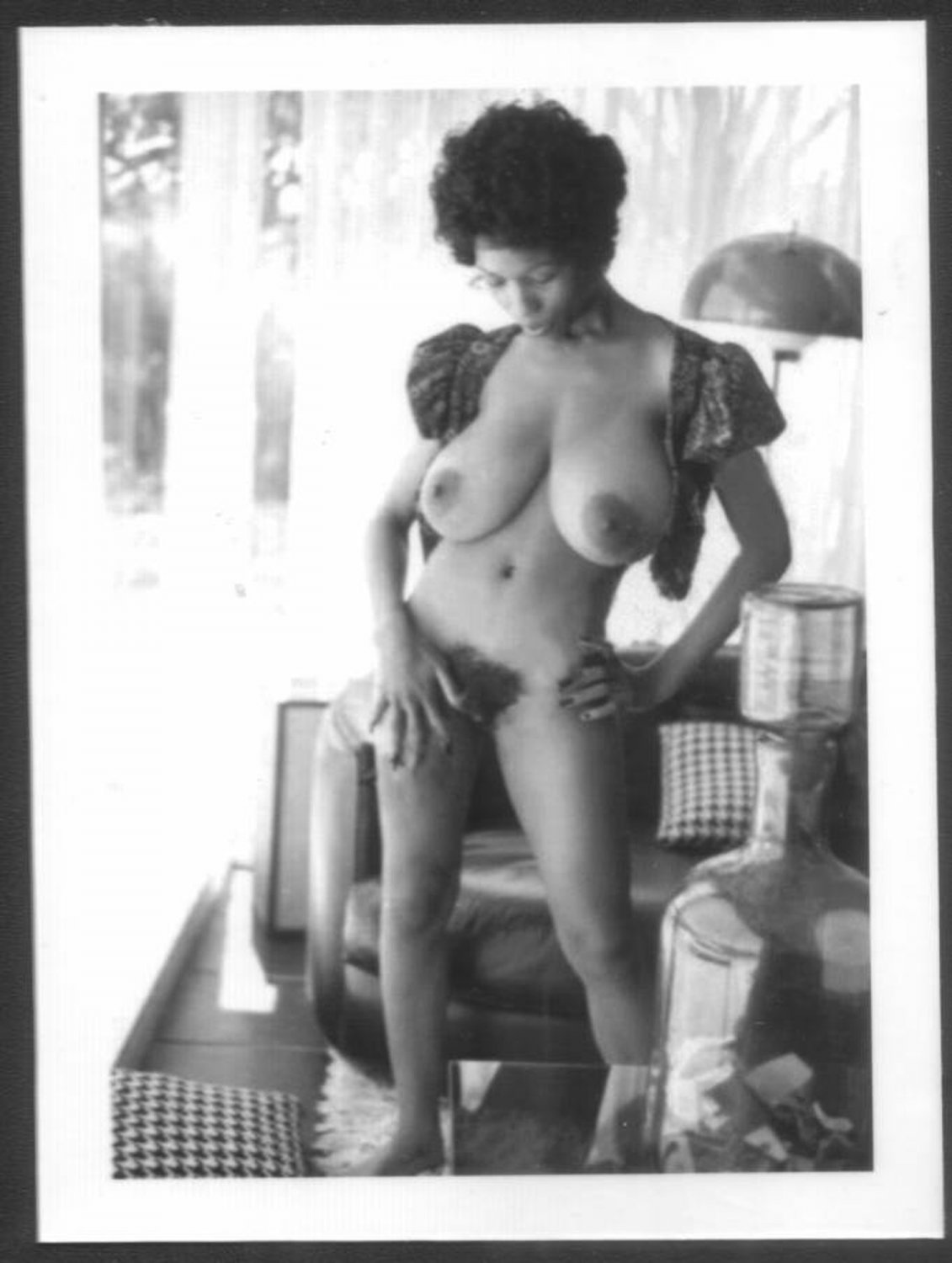 EBONY SYLVIA MCFARLAND TOPLESS NUDE HUGE BREASTS HAIRY PUSSY NEW REPRINT 5X7 SM-98