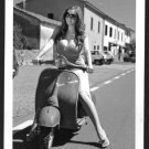 HOT VERY BUSTY BOSOMY MODEL ON VESPA POSE NEW REPRINT PHOTO 5X7  #617
