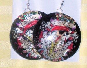 """Love kills"" Black Earrings"