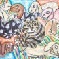 Nubian Au Pair Dairy Goat Art Cat with Kids Giclee Print NEW 8.5 x 11