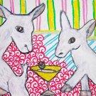 Mini Saanen drinking a Martini Dairy Goat Giclee Art Print NEW