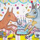 German Pinscher having a Birthday Party Dog Art Print