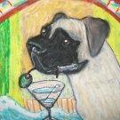 Bullmastiff Coffee Break Giclee Art Print Signed Numbered Limited edition