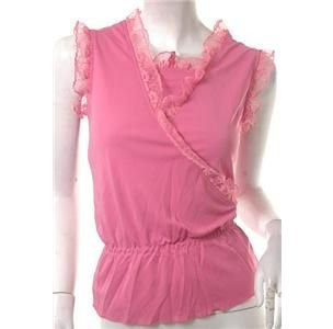 NEW PINK LACE BABYDOLL 80S LIKE GATHERED WAIST TOP S FREE WORLDWIDE SHIP