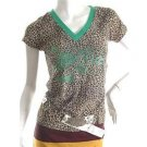 NEW ROCK CHICK LEOPARD PRINT GLITTER GUITAR TOP SALE M FREE WORLDWIDE SHIPPING