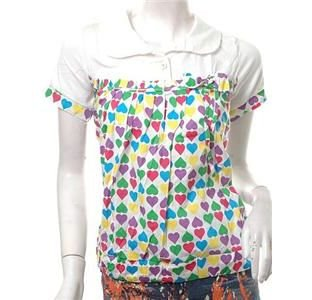 NEW CUTE JAPAN COLORFUL HEARTS POLO TOP FREE WORLDWIDE SHIPPING