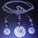 80s Pendant Medallion Necklace w/ Dangle Hook Earrings