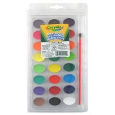 Crayola WATERCOLOR Paints - 24 Colors - Washable - Brush included + 20 ACEO Cards