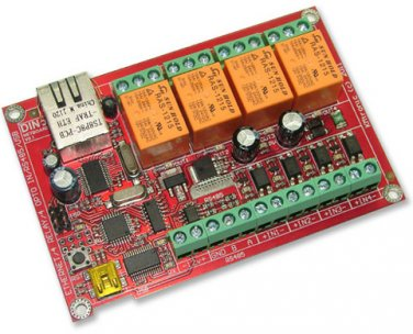 WEB, Internet , Ethernet controlled relay board: Arduino compatible, RS485, USB