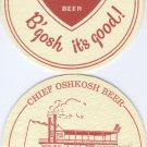 Two Chief Oshkosh Beer Cardboard Coaster - New FREE SHIPPING