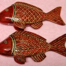 Pair of Vintage Red & Golden Fish Decor Aquarium Antique