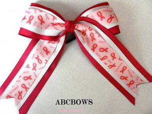 Cheer Bow - breast cancer awarness - triple layer