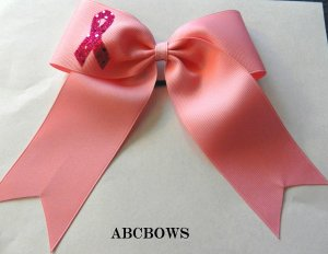 Cheer Bow - Pink - breast cancer awarness