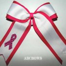 Cheer Bow - breast cancer awarness - shocking pink