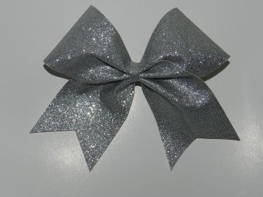 Texas Size  Cheer bow - Silver Glitter