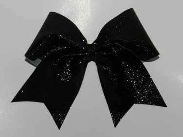Texas Size  Cheer bow - Black Glitter