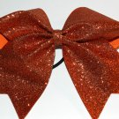 Texas Size  Cheer bow - Orange Glitter