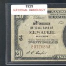 1929 $20.00 Natonal &quot; MILWAUKEE, WI &quot;
