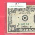 """1974  """" B """"  STAR   $20.00 FRN"""