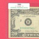 """1985 """" B """"  STAR   $20.00 FRN =  B00203741*"""