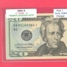 """2004a $20.00 """" B """" STAR scarce only 320K printed"""