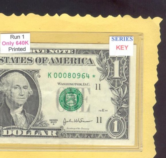 "= Series Key =  2003a  "" K ""  star note  K00080964*"