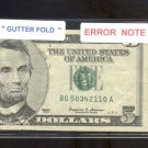 $5.00 Gutter Fold  = ERROR = very nice