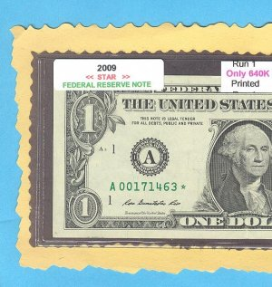 """2009 """" A """" STAR note RUN 1 == ONLY 640k  A00171463*"""