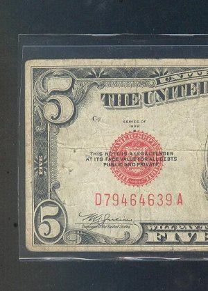 1928b $5.00 Red Seal ....