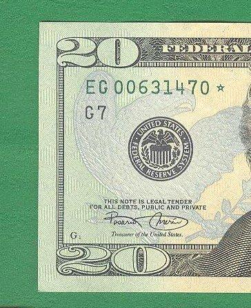 """2004 """" G """" STAR $20.00 FRN"""