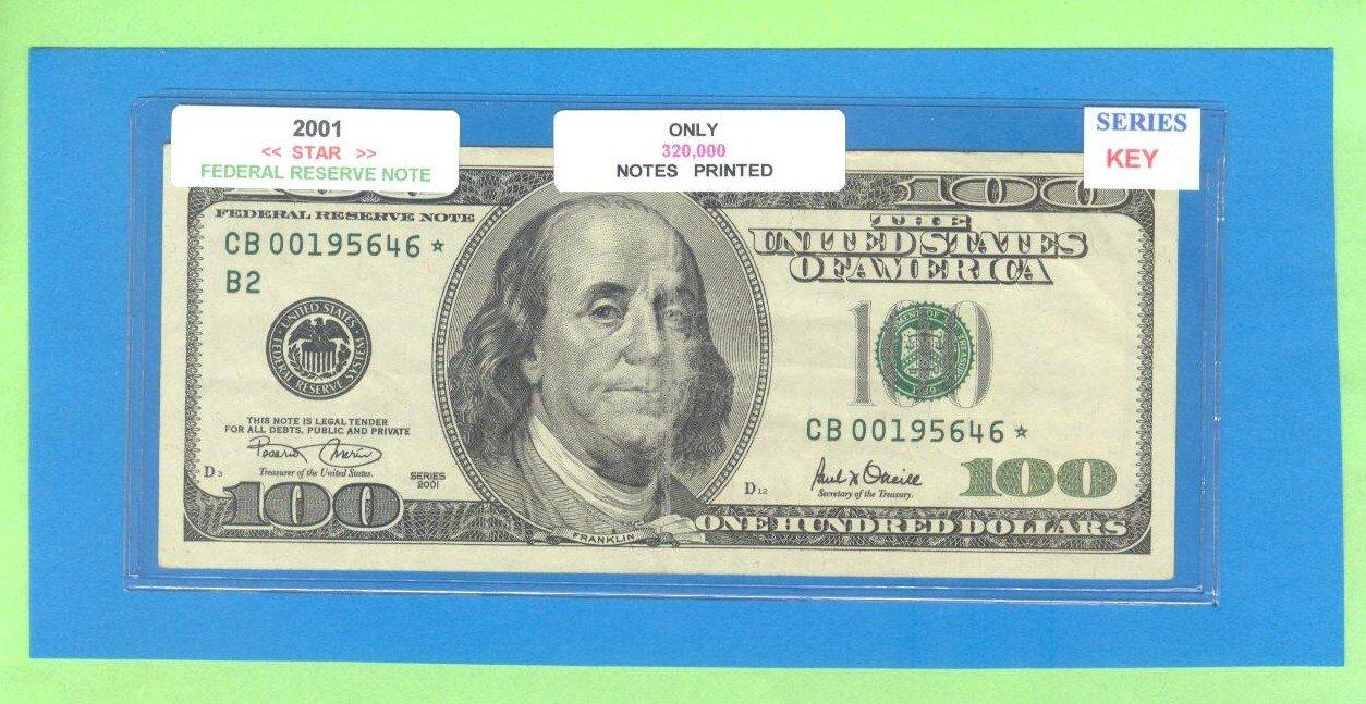 "== Series Key == 2001 "" B "" star note $100.00 FRN"