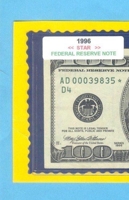 "== Series Key == 1996 "" D "" star note $100.00 FRN"