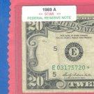 """1969a """" E  """" STAR $20.00 FRN"""