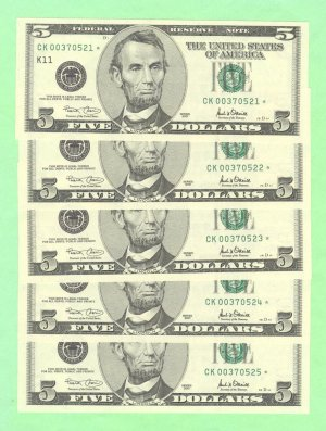 "~~ Series 2001 ~ $5.00 "" STAR "" frn's ( 5 ) consecutive "" K "" district"