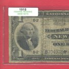 ~ Series 1918 ~~ STAR note == $1.00 FRBN == Scarce ! !