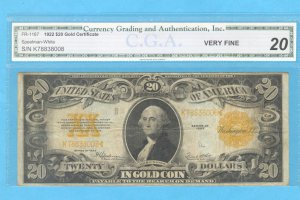 1922 GOLD certificate  CGA  VF-20