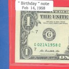~~ Birthday note ~~ == Feb 14, 1958 ==  cool note