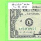 ~~ Birthday note ~~ == Jun 28, 1991 ==  cool note